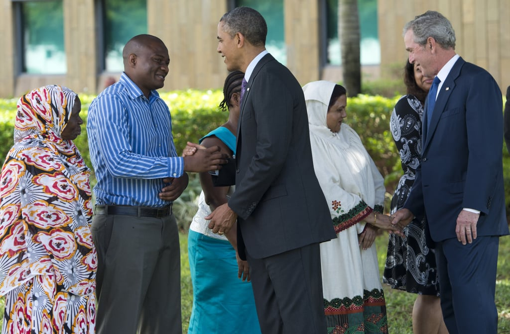 In July 2013, President Obama and former President George W. Bush greeted the family members of victims of the 1998 US Embassy bombing in Dar es Salaam, Tanzania.