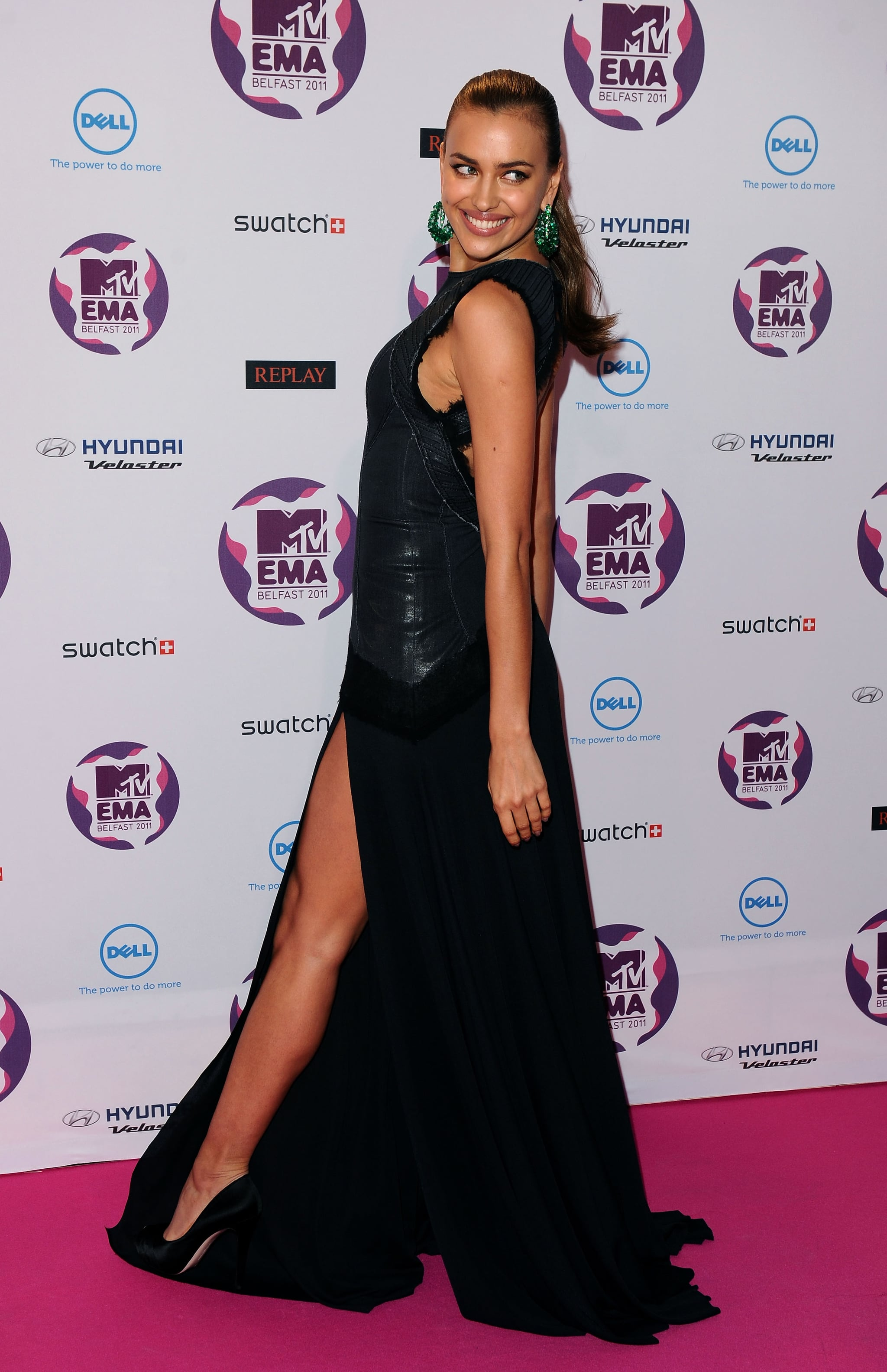 Irina Shayk showed off all the angles of her dress.