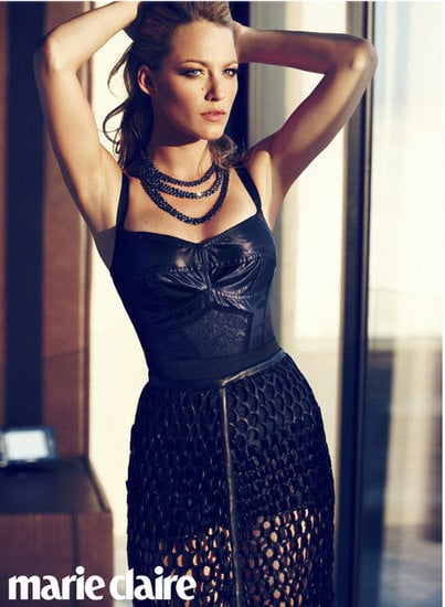 Blake Lively wore leather and lace in the July 2012 issue of US Marie Claire. Source: Marie Claire