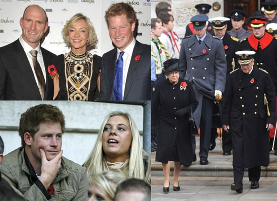 Photos of Royals Prince William Prince Harry and the Queen at Remembrance Sunday, Prince Harry and Chelsy Davy Reunited at Rugby
