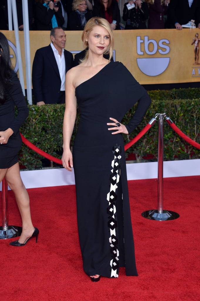 We love that Claire surprised us at the 2013 SAG Awards with a moody, dark lip and a one-shouldered Givenchy gown.