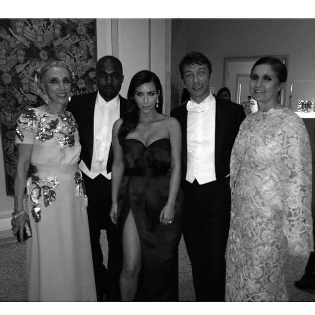 Kim and Kanye posed for a photo with Vogue Italia Editor in Chief Franca Sozzani as well as Valentino designers Maria Grazia Chiuri and Pier Paolo Piccioli. Source: Instagram user kimkardashian