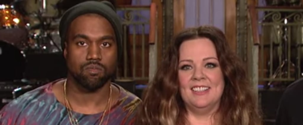 Kanye West Looks Less Than Thrilled in His New SNL Promo With Melissa McCarthy
