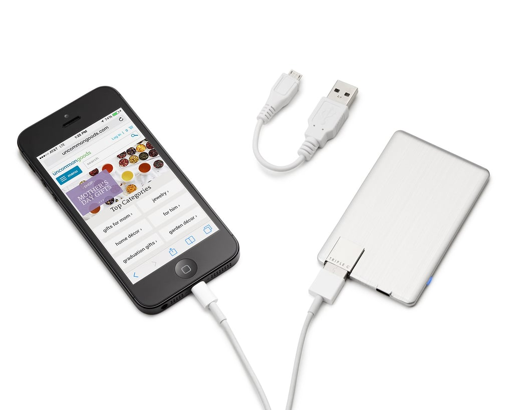 This rechargeable power card ($35) is so small, Dad can easily keep it in his wallet. The best part is the folding USB that works with cell phones, MP3 players, digital cameras, and more.