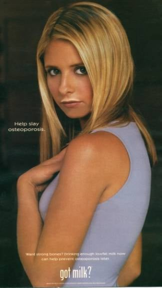 "In a very Buffy fashion, Sarah Michelle Gellar's ad called for people to ""slay"" osteoporosis."