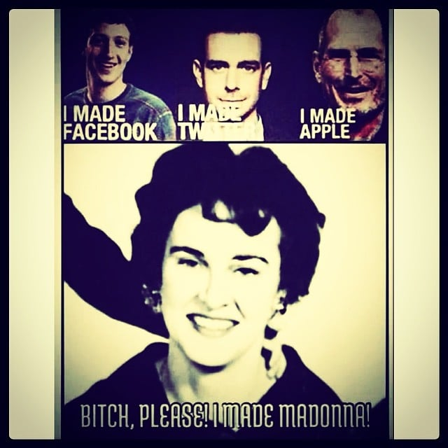 Madonna paid tribute to her mom, who died when the singer was 5, with this meme.  Source: Instagram user madonna