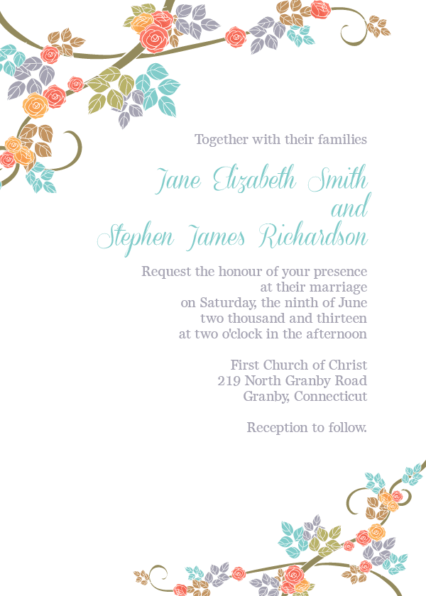 Spring Floral Border Wedding Invitation