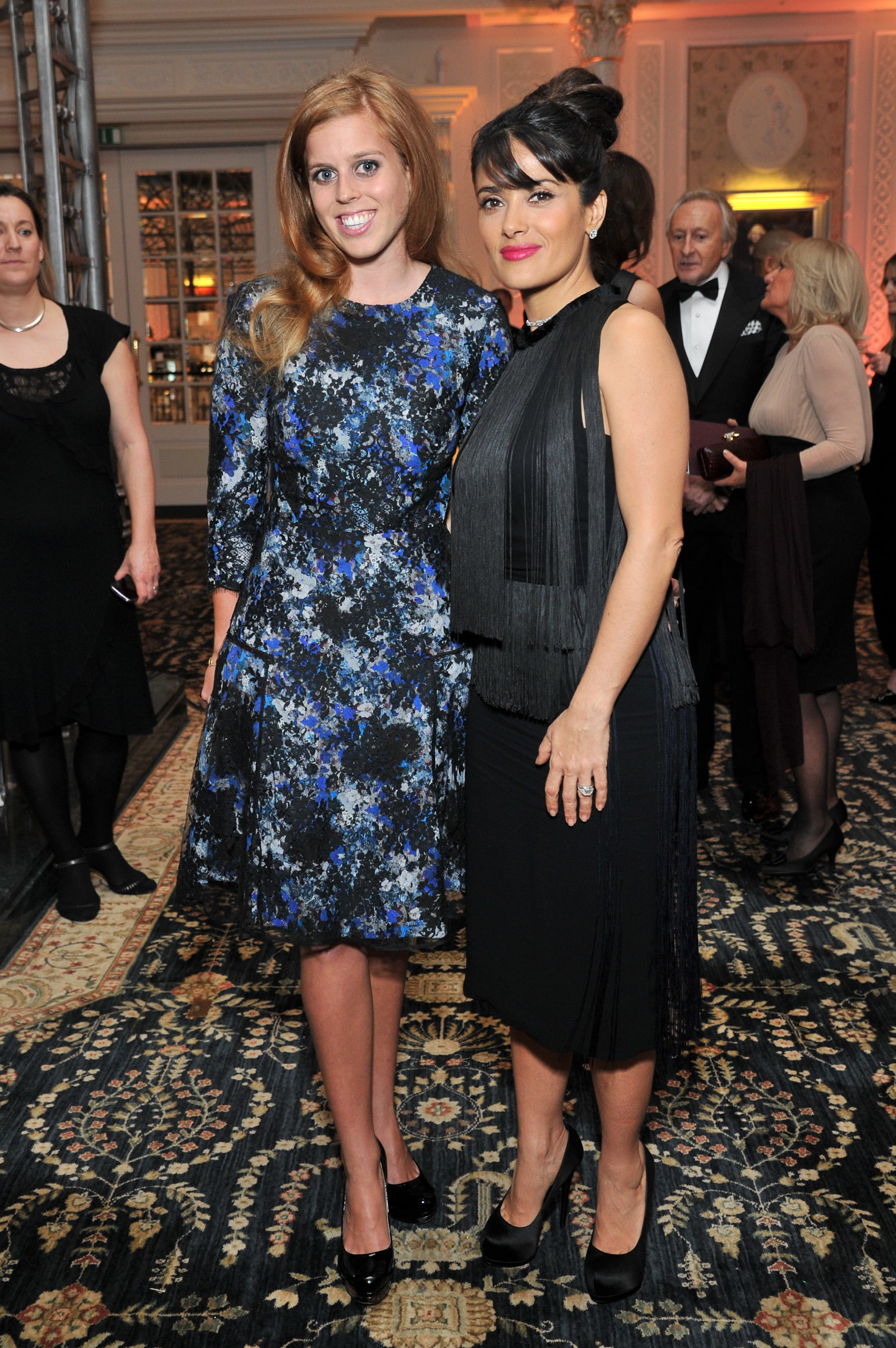 Princess Beatrice and Salma Hayek met each other in November 2012 at the British Fashion Awards in London.