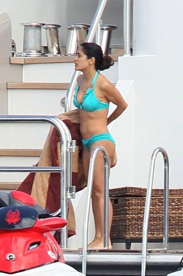 Pictures of Salma Hayek on a Jet Ski in a Bikini