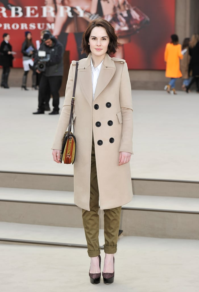 Michelle Dockery wore a simple coat to the London Fashion Week Burberry Prorsum Fall 2013 show in February.