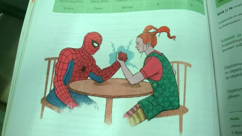 """""""There's a picture of Spider-Man and Pippi Longstocking arm wrestling in my English textbook."""" Source: Reddit user falarikae via Imgur"""