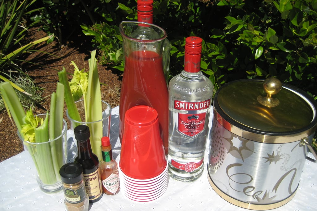 Set up a Bloody Mary bar. Arrange ice next to vodka, stacked glasses, and a pitcher filled with tomato juice. Stand celery spears in glasses and place extra mix-ins: Tabasco, Worcestershire, and celery salt nearby.  Well that's my no-fail recipe for a simple yet delicious brunch, what's yours?