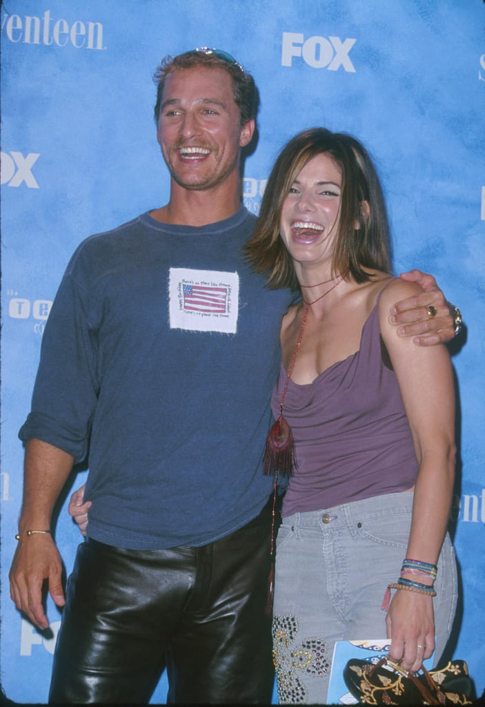 Matthew McConaughey and Sandra shared a hug at the first annual Teen Choice Awards in August 1999.