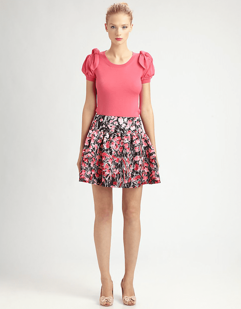 We love the idea of wearing this RED Valentino Lily of Valley skirt ($550) with a leather moto jacket and ankle boots for a cool downtown aesthetic.