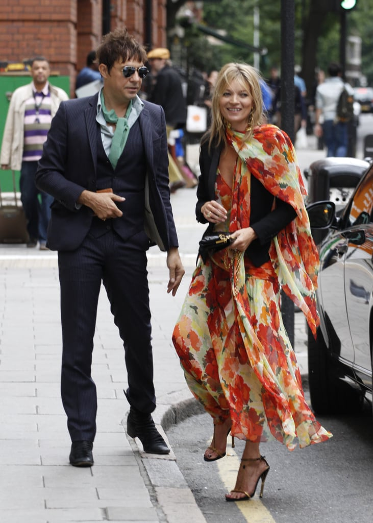 Kate Moss ditched her skinny denim in lieu of a floral maxi dress for a wedding she and husband Jamie Hince attended in London in June. Clearly she can pull off both! To stand out à la Kate, just find a fresh floral dress in punchy hues, and add a black blazer to temper it.