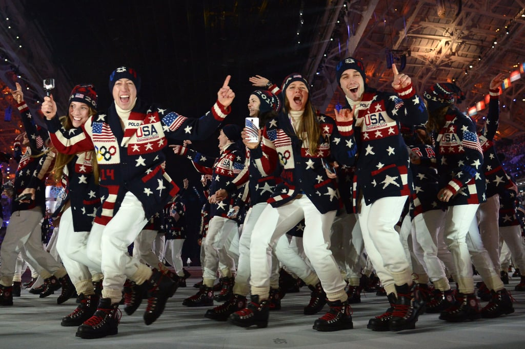 Athletes from Team USA posed for a picture as they made their entrance.