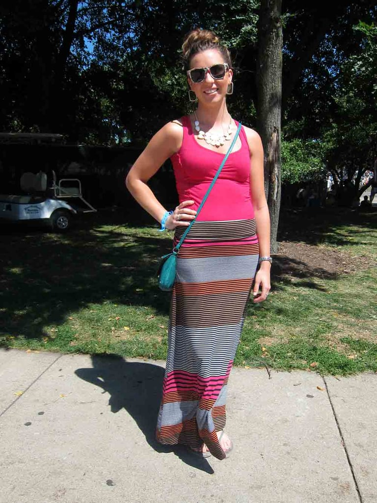 Bright pink had its moment in the sun with Mary Kate's striped colorblock Target skirt with similarly colored sunglasses.