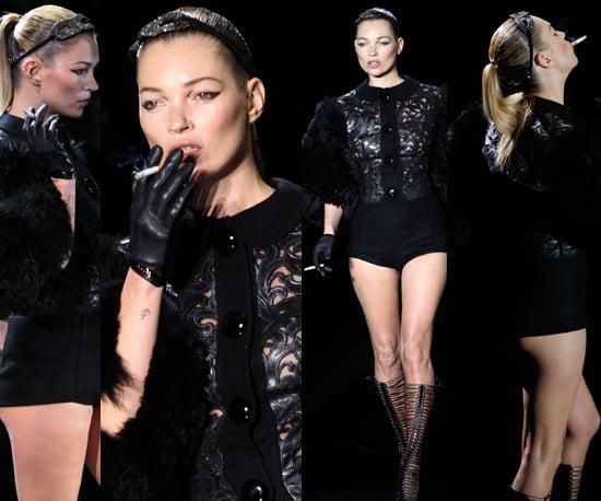 Kate Moss Smokes Cigarette on Louis Vuitton Runway at Paris Fashion Week