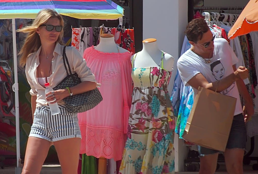 Kate Moss wore striped shorts during a shopping trip in Formentera in August.
