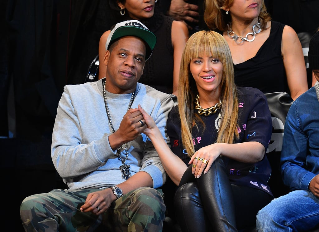 Jay-Z and Beyoncé held hands at a Brooklyn Nets basketball game in November 2012.