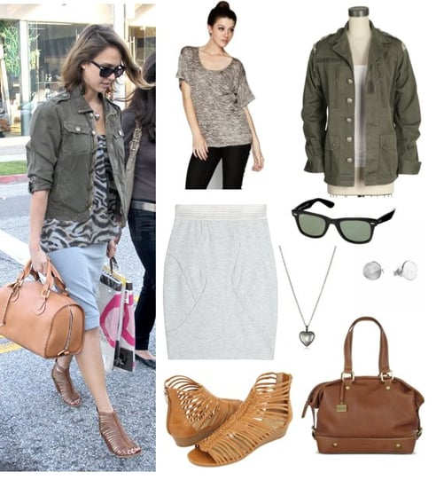 Pictures of Jessica Alba Wearing Army Jacket and Animal Print Top