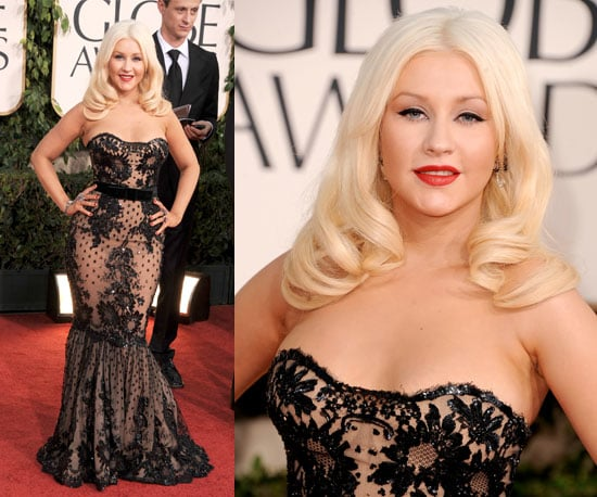 Christina Aguilera in black lace Zuhair Muradat 2011 Golden Globe Awards