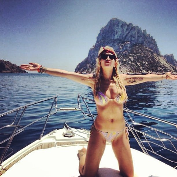 Rita Ora logged bikini time while hanging with friends on a boat. Source: Instagram user ritaora