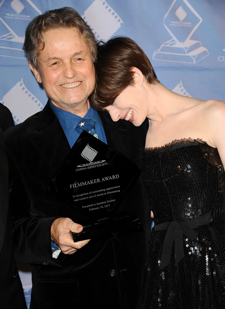 Anne Hathaway laughed with Jonathan Demme at the Cinema Audio Society Guild Awards.