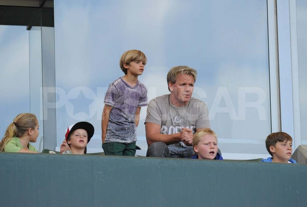 Gordon Ramsay with Romeo, Cruz, and Brooklyn Beckham.
