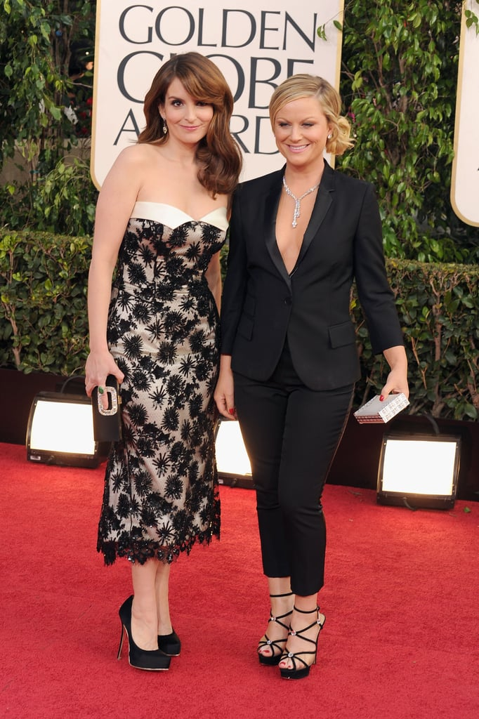 Golden Globes hosts Amy Poehler and Tina Fey posed together on the red carpet before kicking off the show.