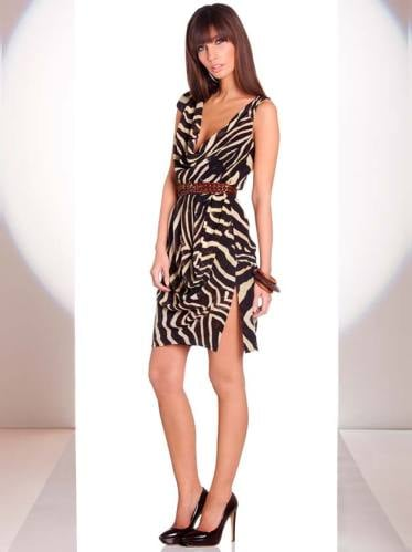 I love the cowl neck on this animal print number.