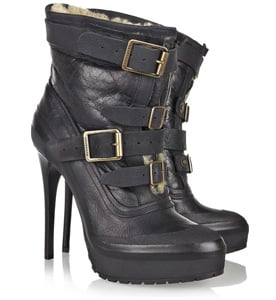 Burberry Buckle Shearling Boots For Less