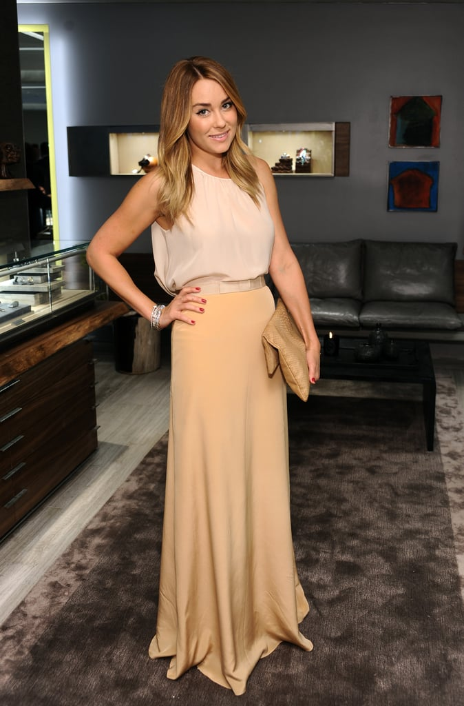 Lauren showed off a sweet, sophisticated Topshop and Paper Crown pairing for a party in Beverly Hills in 2012. Lesson from Lauren: a draping maxi skirt evokes elegance.