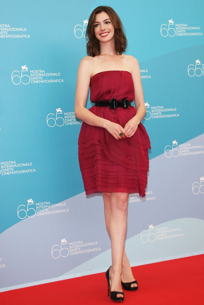 Looking gorgeous and girly in red at the 2008 Rachel Getting Married photocall in Italy.