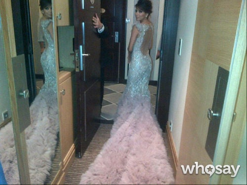 Eva Longoria donned a dreamy Marchesa gown at the Cannes Film Festival, and shared a snap of her train before leaving.  Source: Eva Longoria on WhoSay