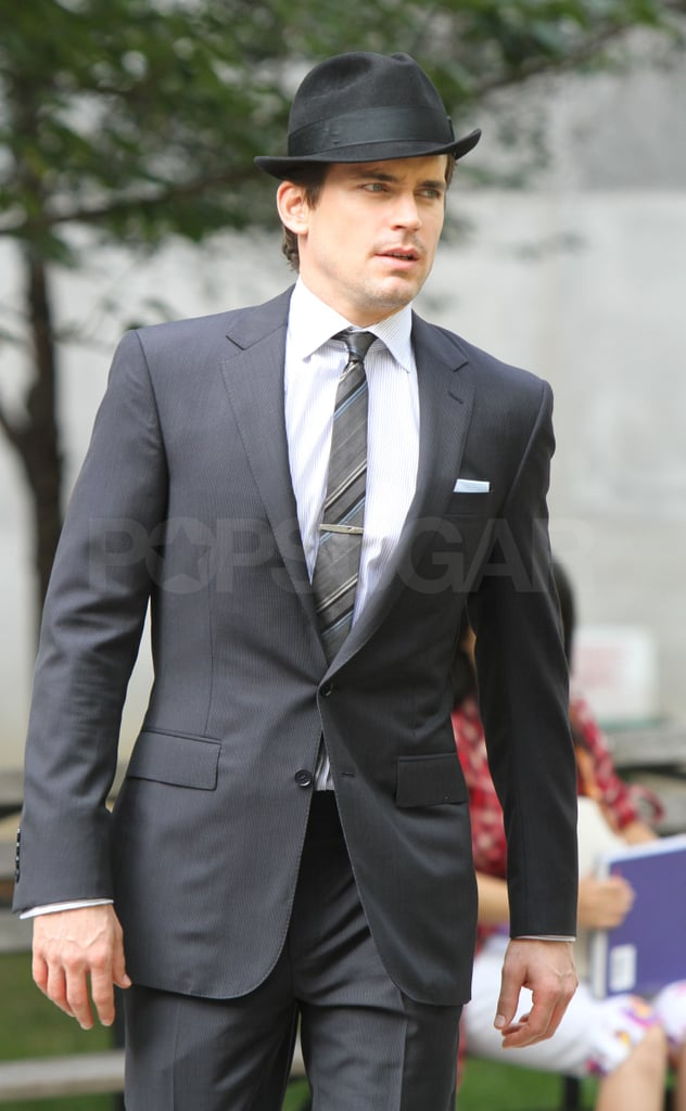 Matthew Bomer topped off his look with a coordinating hat.