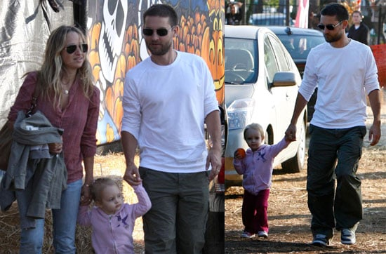 Photos of Tobey Maguire, Jennifer Meyer, Ruby Maguire at the Pumpkin Patch