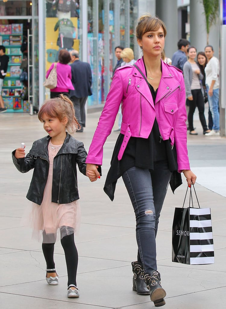 Jessica stood out in a hot-pink leather biker jacket and these 7 For All Mankind jeans ($225) while indulging in some retail therapy with Honor by her side.