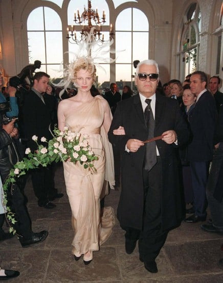Kristen McMenamy Wearing Karl Lagerfeld in October 1997