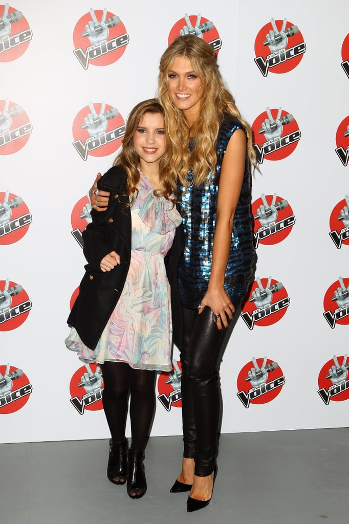 """Delta Goodrem posed with her finalist from The Voice, who she dubbed her """"angel,"""" Rachael Leahcar, at a press conference for the show in June 2012."""