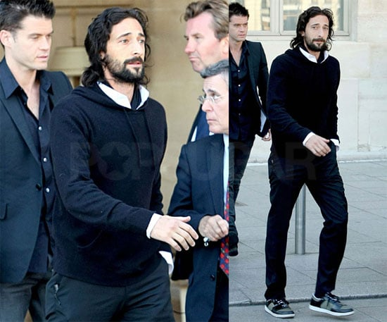 Photos of Adrien Brody at the Hugo Boss Fashion Show in Paris