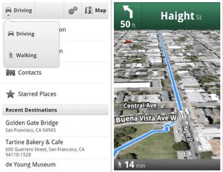 Walking Navigation on Google Maps 4.5 Update