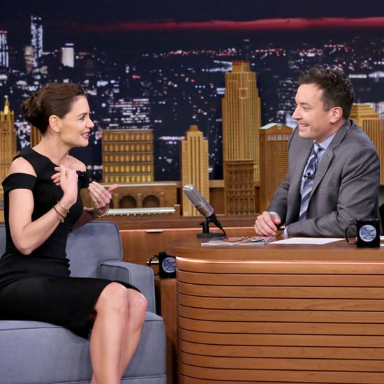 Katie Holmes Black Zac Posen Dress on Jimmy Fallon