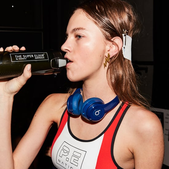Models Drinking Alkalising Greens Backstage at Fashion Week