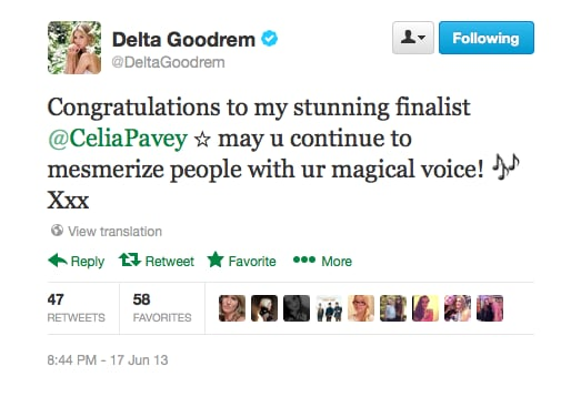 Congrats to Delta and Celia, and their efforts on The Voice this year!