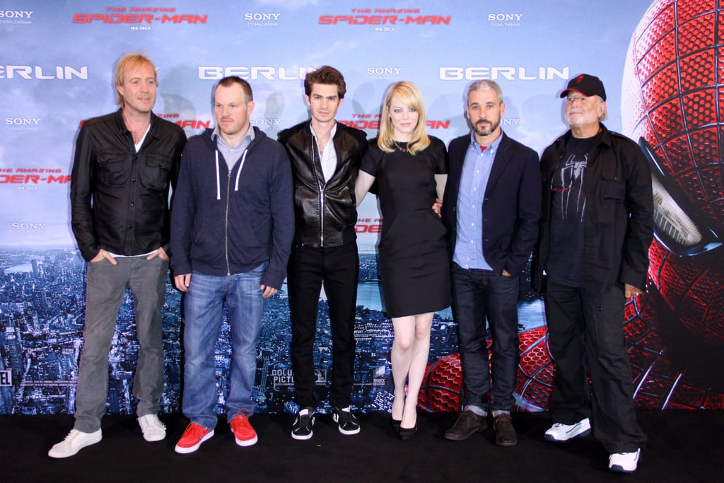 Rhys Ifans, Marc Webb, Andrew Garfield, Emma Stone, Avi Arad, and Matt Tolmach linked up at the Berlin photocall for The Amazing Spider-Man.