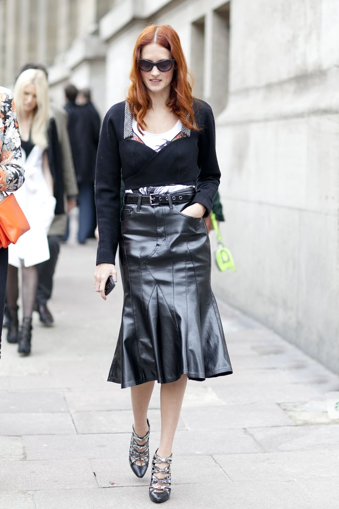 Taylor Tomasi Hill zeroes in on ladylike edge with a trumpet-style leather skirt.