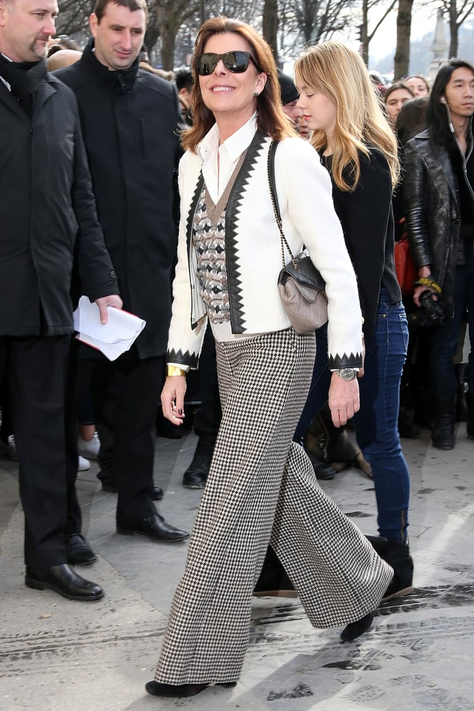 Princess Caroline of Monaco at the Paris Fashion Week Chanel show wearing Chanel in 2016.