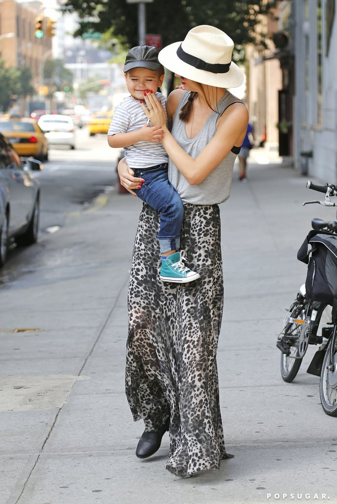 Miranda Kerr took Flynn out for a walk in NYC.