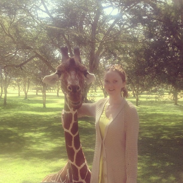 Lily Cole got back to nature, and snapped this sweet pic with a baby giraffe. Source: Instagram user lilycole